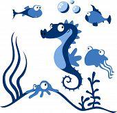image of seahorse  - cartoon Akvarium with blue seahorse and fish  - JPG