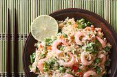 Fried Rice With Shrimp And Vegetables Close-up, Horizontal Top View