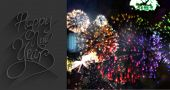Classy new year greeting against colourful fireworks exploding on black background