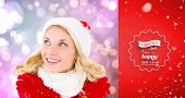 happy festive blonde against red vignette