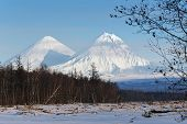 Klyuchevskoy Volcano And Kamen Volcano On The Kamchatka Peninsula