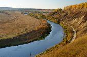 River Curl In Autumn. Russia