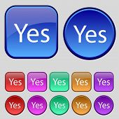 Yes Sign Icon Set Of Colored Buttons. Vector