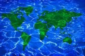 blue water and green worlwide map