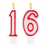 pic of sweet sixteen  - Birthday candles number sixteen isolated on white background - JPG