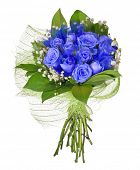 bunch of blue rose flowers isolated on white background