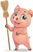 stock photo of broom  - funny pig with a broom on white background - JPG
