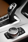 picture of gear-shifter  - Detail on a automatic gear shifter in a new car - JPG