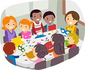 image of stickman  - Illustration of Parents and Their Friends Doing Paper Crafts Together - JPG