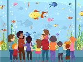 Illustration of a Family Watching Sea Animals in a Giant Aquarium