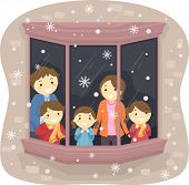 Illustration of a Family Watching the Snow Fall From Their Window