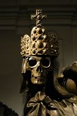 Crowned skeleton in the ancient emperor tombs Kaisergruft in Vienna, Austria.