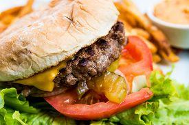 stock photo of burger  - Cheese burger  - JPG