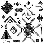 stock photo of wigwams  - Hand drawn tribal elements set on white background - JPG