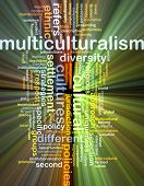 image of multicultural  - Background text pattern concept wordcloud illustration of multiculturalism glowing light - JPG