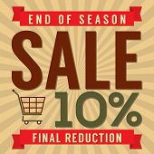 stock photo of year end sale  - Shopping Cart With 10 Percent End of Season Sale Illustration - JPG