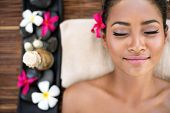 picture of sleeping beauty  - Serene beautiful spa woman relaxing on massage desk  - JPG