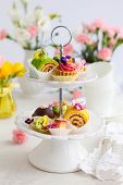 pic of cake stand  - Assorted cakes and pastries on a cake stand for afternoon tea - JPG