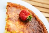 picture of curd  - tasty curd casserole with strawberries on plate  - JPG