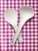 image of ladle  - White spatula and ladle on the cloth background - JPG