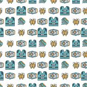 image of jellyfish  - Seamless flat color design vector pattern with life jacket - JPG