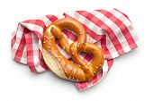 picture of pretzels  - baked pretzel with napkin on white background - JPG