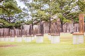 picture of bomb  - The Oklahoma Bombing Monument with empty chair sculptures that memorialize those lost to the terrorist bombing - JPG