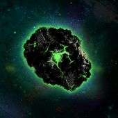 picture of meteorite  - Radioactive meteorite in space - JPG