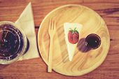 foto of crepes  - Crepes Strawberry Cake Shop eat with your coffee to taste delicious - JPG
