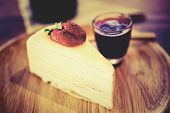 image of crepes  - Crepes Strawberry Cake Shop eat with your coffee to taste delicious - JPG