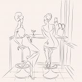 image of cocktail  - Fashion girl in cafe drinking cocktail and look out the window barhand drawn illustration Background with model - JPG