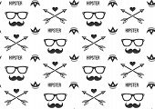 stock photo of mustache  - Hipster pattern - JPG