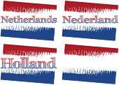 image of holland flag  - vector abstract flag of Netherlands four versions with text Netherlands Nederland Holland and without text - JPG