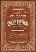 stock photo of prospectus  - Illustration of a retro vintage festival poster background with floral and royal shapes frames banners and grunge texture - JPG