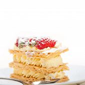 picture of tort  - fresh baked napoleon strawberry and cream cake dessert - JPG