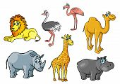 stock photo of african lion  - Cartoon african wild animals and birds characters including lion - JPG