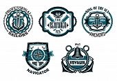 stock photo of spyglass  - Retro nautical emblems or badges in blue colors with anchors - JPG