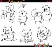 stock photo of piglet  - Coloring Book Cartoon Illustration of Piglet Animal Character School Student Set - JPG