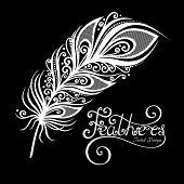 stock photo of tribal  - Vector Peerless Decorative Feather Tribal design Tattoo - JPG