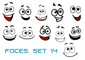 picture of caricatures  - Smiling funny faces in cartoon comic style showing happiness - JPG