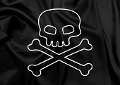 image of skull crossbones flag  - Jolly Roger waving flag on silk texture - JPG