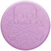 image of shabu  - Pink Ecstasy pill isolated on white illustration - JPG