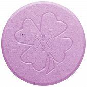 stock photo of shabu  - Pink Ecstasy pill isolated on white illustration - JPG