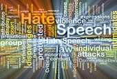 stock photo of hate  - Background text pattern concept wordcloud illustration of hate speech glowing light - JPG
