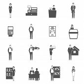 stock photo of receipt  - Salesman black icons set with shop receipt car dealer figures isolated vector illustration - JPG