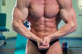 image of arm muscle  - Bodybuilder showing his muscles in the gym  - JPG