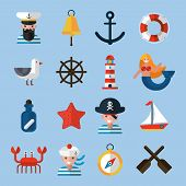 pic of nautical equipment  - Nautical icons set with sailor anchor lifebelt star fish isolated vector illustration - JPG