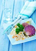 image of scallops  - rice with scallop on plate and on a table - JPG