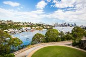 stock photo of bp  - The Sydney CBD and surrounding harbour over Berrys Bay and old BP Australia refinery - JPG