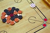 stock photo of clos  - Clos up of an old Carrom game - JPG